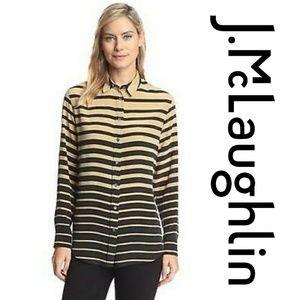 J Mclaughlin Bianca Silk Striped Blouse